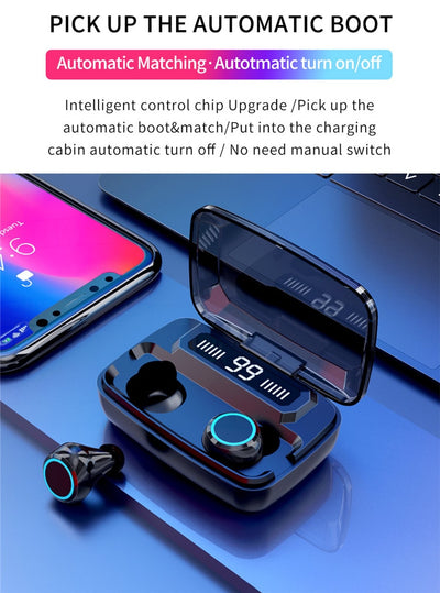 Wireless Earphones Bluetooth V5.0 TWS Wireless Bluetooth Headphones LED Display With 3300mAh Power Bank Headsets With Microphone (50% OFF)