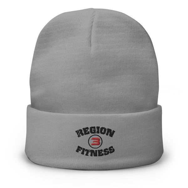 R3F Grey Embroidered Beanie