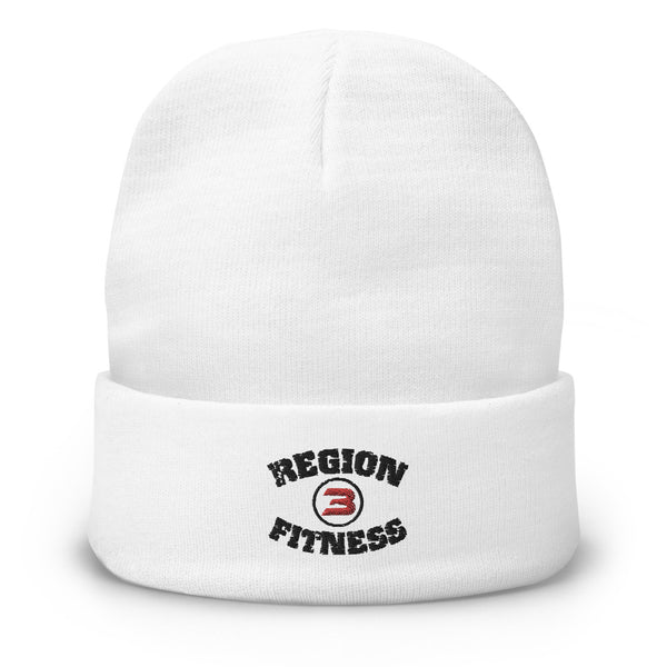 R3F White Embroidered Beanie