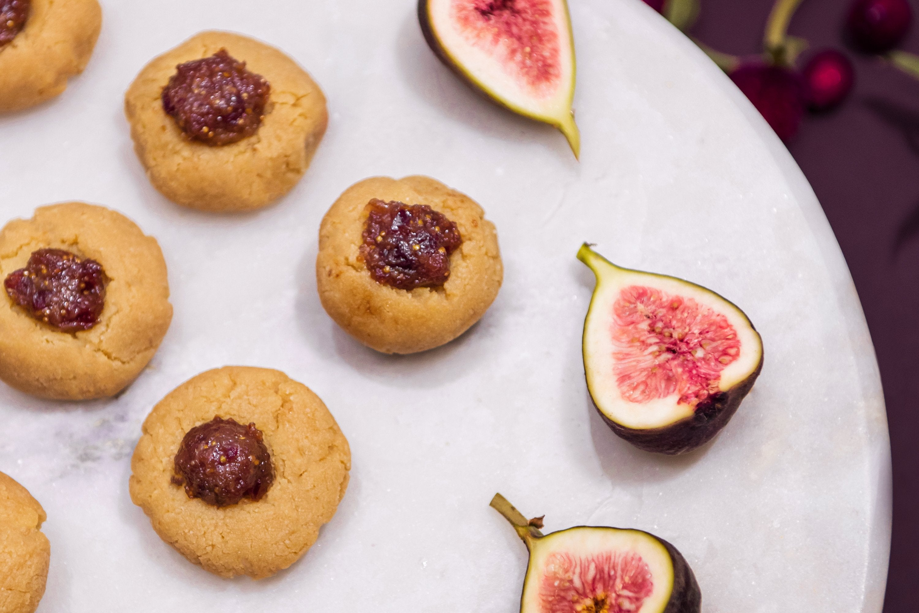 Almond Thumbprint Cookies with Cranberry Fig Jam