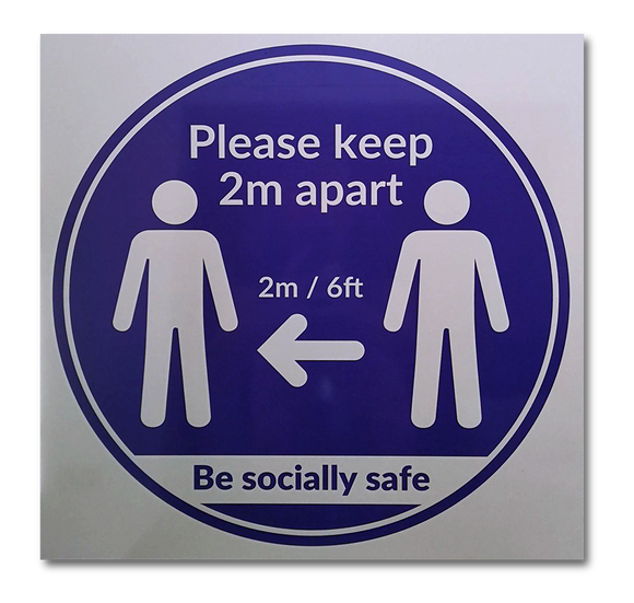 Keep 2m Apart Sign - 500 x 500mm - Aluminium Composite