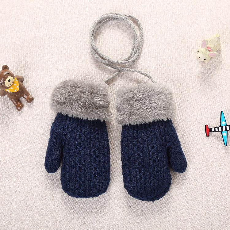 Winter Baby Boys Girls Knitted Gloves Warm Rope Full Finger Mittens Gloves For Children Toddler Kids Accessories Winter Gloves