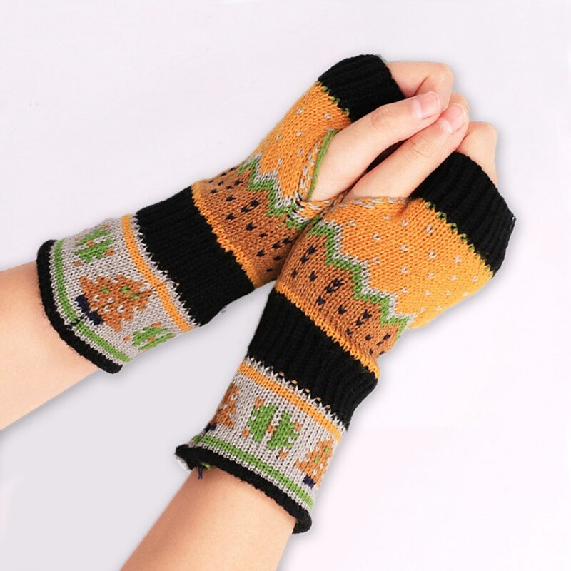 WENYUJH Christmas Tree Gloves Knit Gloves Half Finger Woman Gloves Warm Gloves Fingerless Glove Winter Short Gloves Xmas Gifts