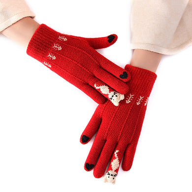 Winter Touch Screen Gloves Women Men Warm Stretch Knit Mittens Imitation Wool Full Finger Guantes Female Crochet Thicken