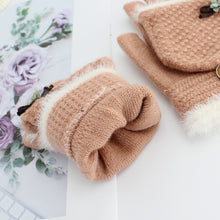 Load image into Gallery viewer, New Women Winter Knitted Flip Gloves Thicken Warm Wool Flip Gloves Girls Soft Elastic Flocking Half-finger Gloves Hot
