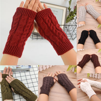 Women's Winter Knitted Stretch Gloves Women Short Cycling Mobile Phone Keep Warm Multicolor Knitting Gloves Kolczyki Damskie