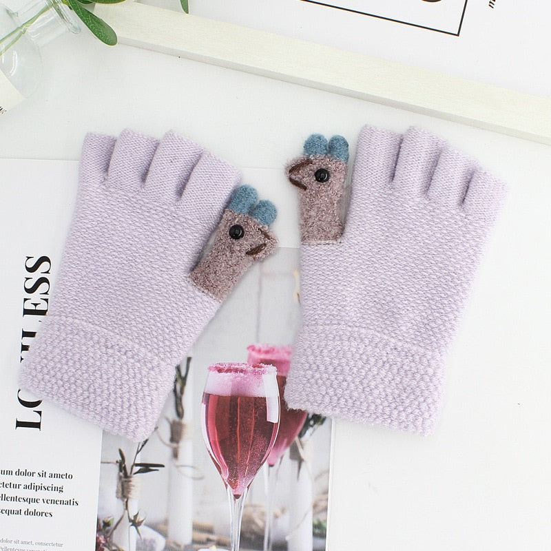 2020 New Women Autumn Winter Half Finger Knitted Gloves Soft Warm Elastic Fingerless Gloves
