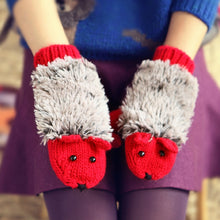Load image into Gallery viewer, New 8 Colors Girls Novelty Cartoon Winter Gloves for Women Knit Warm Fitness Gloves Hedgehog Heated Villus Wrist Mittens