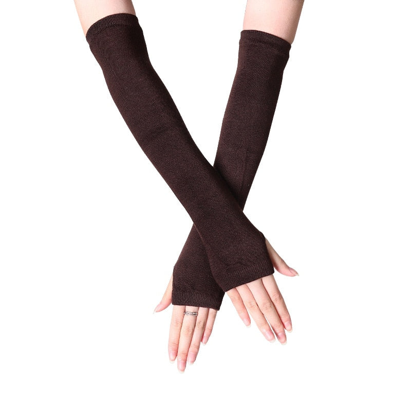 Fashion Women Lady Striped Elbow Gloves Warmer Knitted Long Fingerless Gloves Elbow Mittens Christmas Accessories Gift