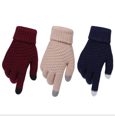 Women's Winter Touch Screen Gloves Thicken Warm Knitted Stretch Gloves Imitation Wool Full Finger Outdoor Skiing Gloves