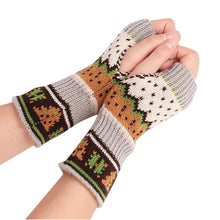 Load image into Gallery viewer, WENYUJH Christmas Tree Gloves Knit Gloves Half Finger Woman Gloves Warm Gloves Fingerless Glove Winter Short Gloves Xmas Gifts