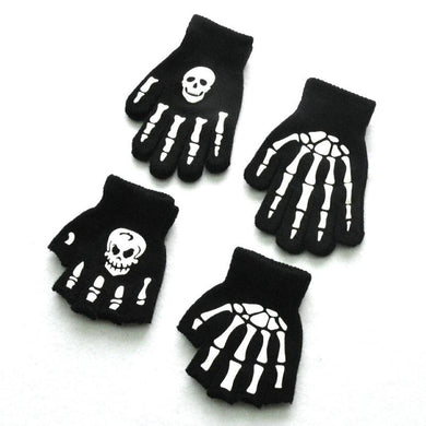 WARMOM Boys Cool Fluorescent Skeleton Gloves Children Mittens Skull Gloves Fashion Cool Winter Black Knitting Luminous Gloves