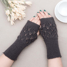 Load image into Gallery viewer, Winter Warm Fingerless Knitted Gloves For Women Acrylic Stretch Half Finger Arm Glove Crochet Knitting Faux Girls Mitten Gloves