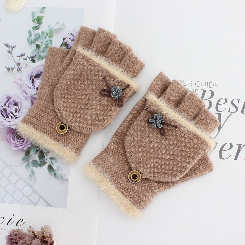 New Women Winter Knitted Flip Gloves Thicken Warm Wool Flip Gloves Girls Soft Elastic Flocking Half-finger Gloves Hot