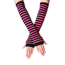 Load image into Gallery viewer, Fashion Women Lady Striped Elbow Gloves Warmer Knitted Long Fingerless Gloves Elbow Mittens Christmas Accessories Gift