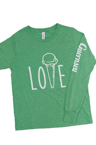 "Kid's ""Love"" Long Sleeve Tee green"