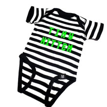Load image into Gallery viewer, Tiny Kitten Black and White Stripe Onesie