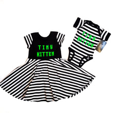 Load image into Gallery viewer, Tiny Kitten Black and White Stripe Baby and Girl's Dress