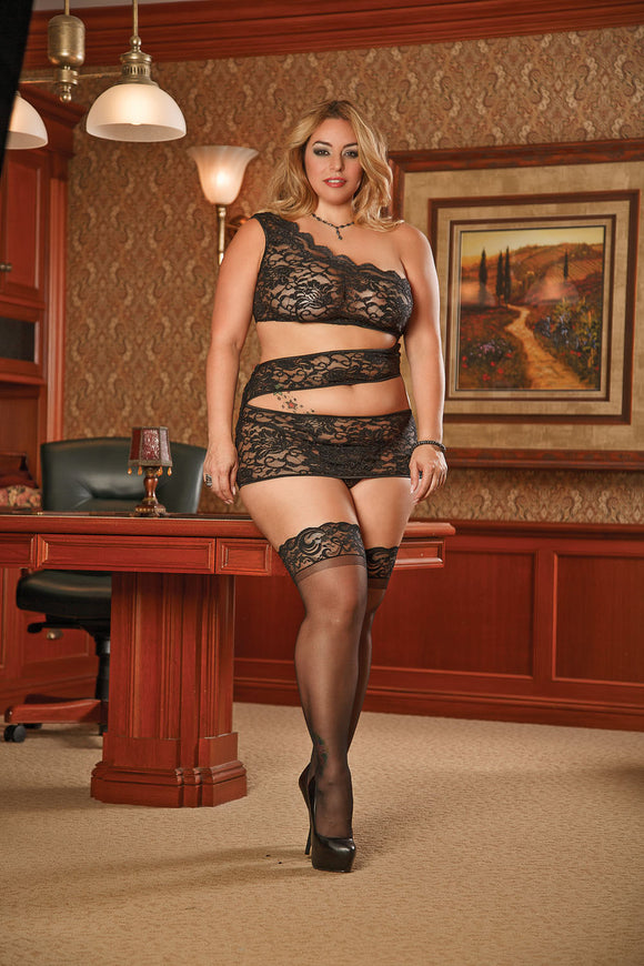 Zigzag Dress and G-String Set 1x-3x - Black MS-B951BLK-2XL