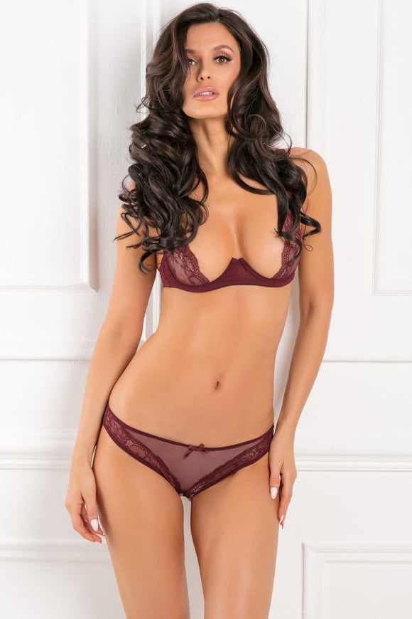 2 Piece With Love Mesh & Lace Half-Cup Bra Set - Burgandy - M/l RR-53007BURML