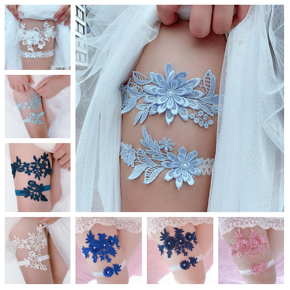 2 pcs Wedding Garter Navy White Embroidery Floral Sexy Garters