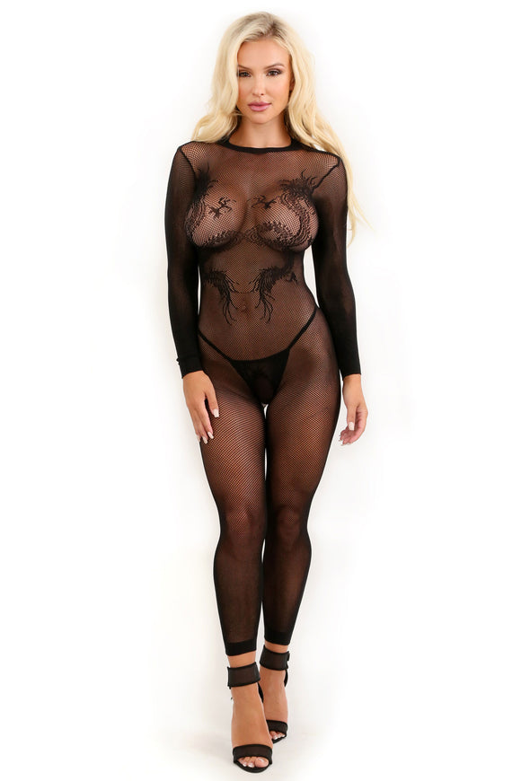 Unleash Me Keyhole Dragon Footless Bodystocking -  One Size FL-SF938-OS-B