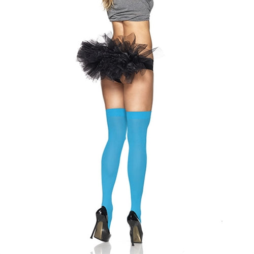 Opaque Thigh Highs - One Size - Neon Blue LA-6672BLU
