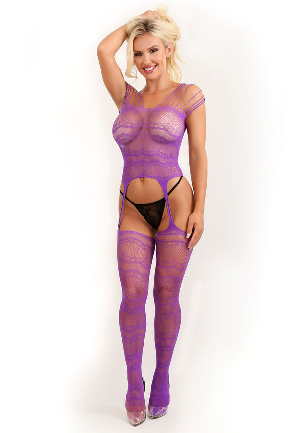 Purple Haze Strappy Gartered Bodystocking - One  Size FL-SF937-OS-B