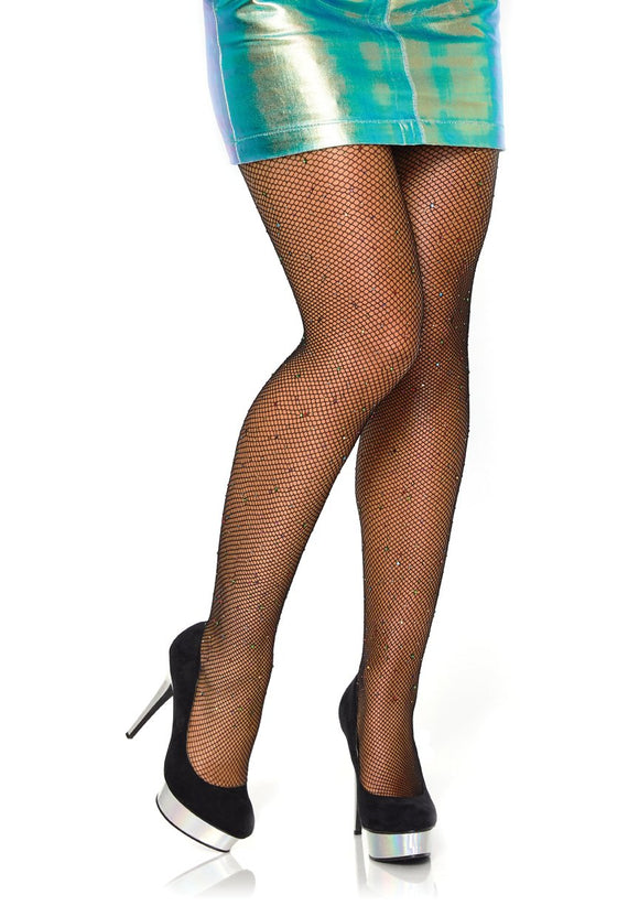 Rhinestone Fishnet Tights - Black - One Size LA-9016