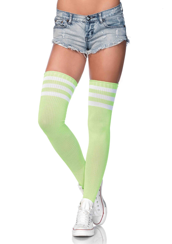 3 Stripes Athletic Ribbed Thigh Highs - One Size - Neon Green LA-6605NGRN