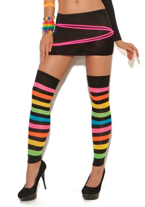 Neon Stripped Leg Warmers - One Size EM-1897