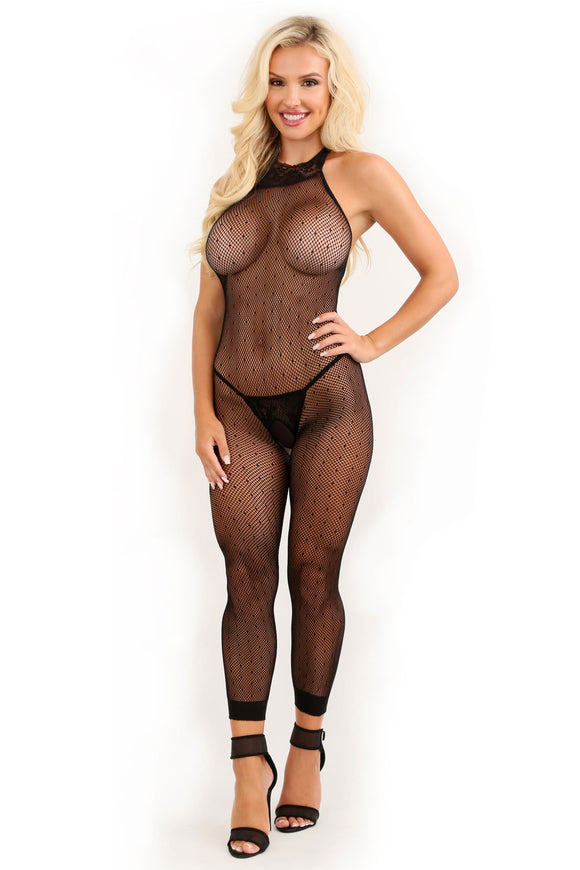 Feelin' Myself Halter Dot Mesh Footless Bodystocking - One Size FL-SF940-OS-B
