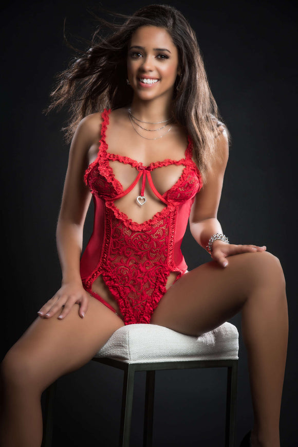 1pc Queen of Hearts Laced Teddy With Open Rear  View Half Open Cups - One Size - Candy Red GWD-BL2085RD