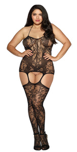 Lace and Opaque Seam Garter Dress - Queen Size - Black DG-0145XBLKQ