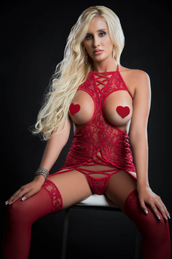 4pc Curve Hugging Dress With Panty Garter and  Pasties - One Size - Red Berry GWD-BL2060RD