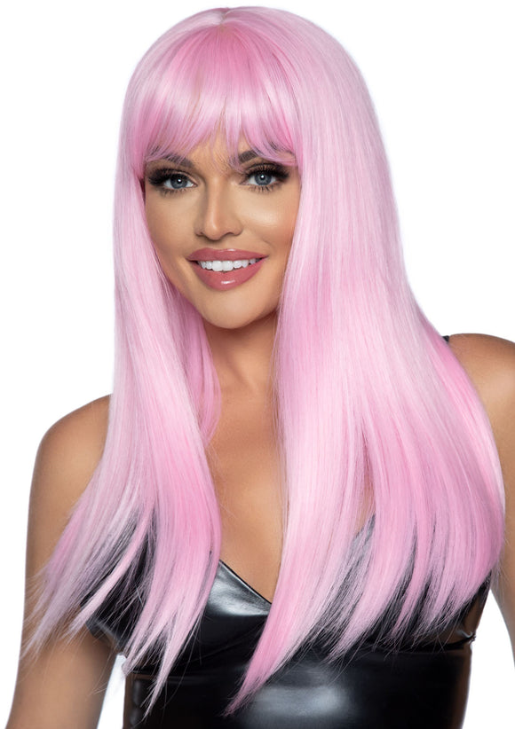 24 Inch Long Straight Bang Wig Pink - VIP NovelTease
