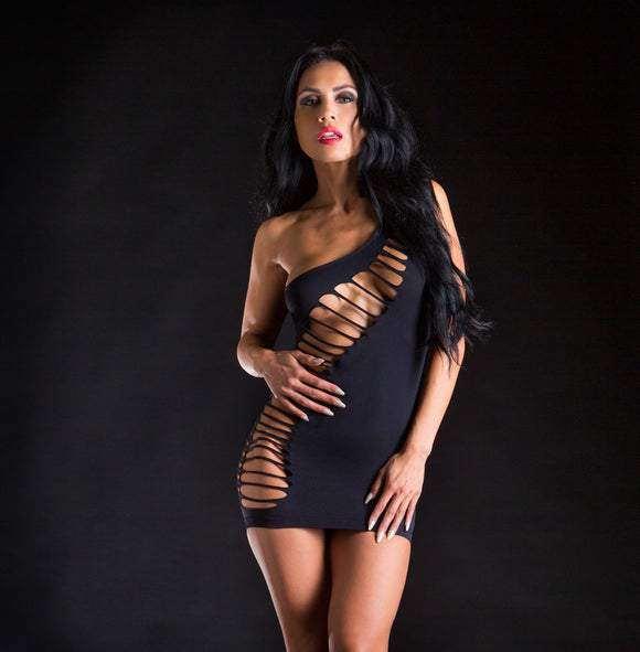 One Shoulder Dress With Wild Holes - One Size - Black BH-69376SD-BK