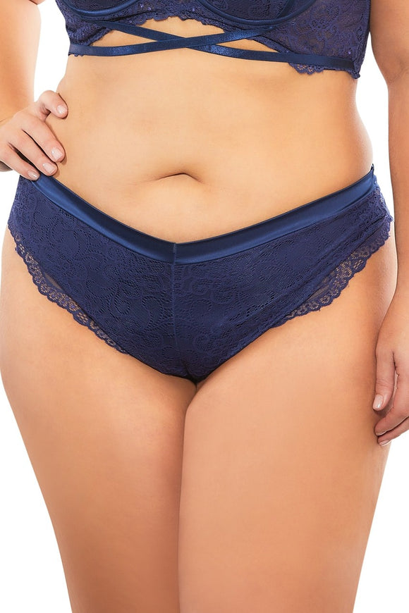High Leg Lined Thong With Crossing Back Straps - Estate Blue - 3x OH-21-10823XEB4