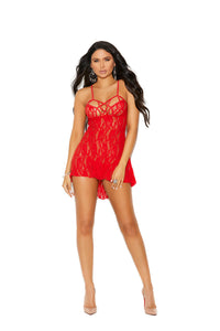 Lace Halter Neck Babydoll With Strappy Detail and Matching G-String - One Size - Red EM-12037RD