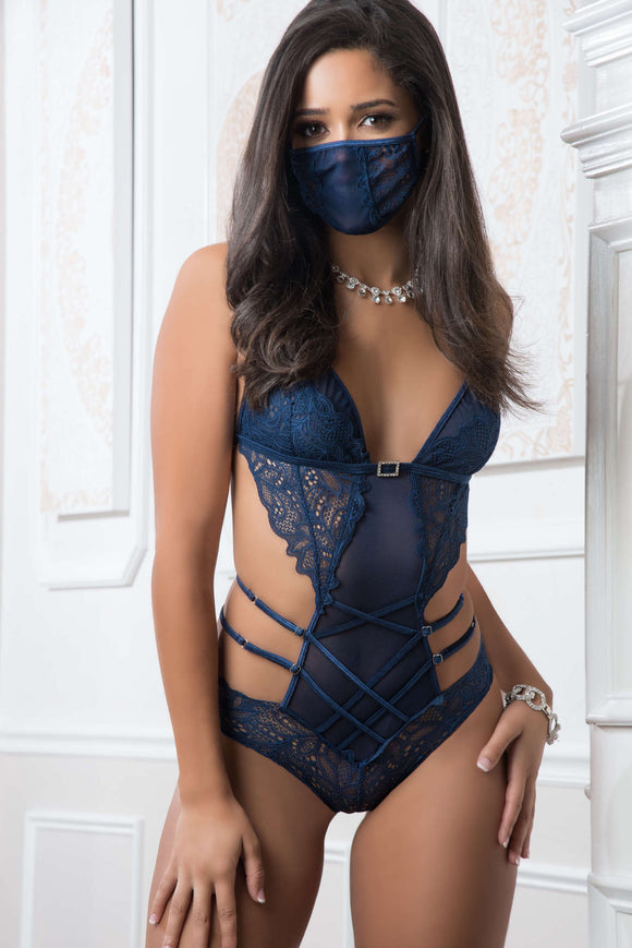 2pc Mask Up Lace Teddy - One Size - French Blue GWD-B2050BLU