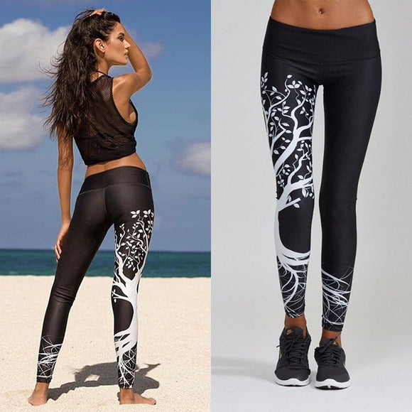 Printed Fitness Sports Workout Mid Elastic Waist Leggings - Black, Gray or White
