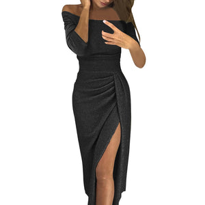 Off Shoulder High Slit Glitter Long Sleeve Elegant Split Dress - Black, Coffee, Red, or Silver