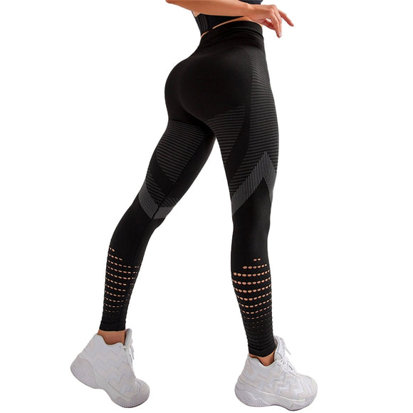 CHRLEISURE Hollow Out High Waist Seamless Patchwork  Push Up Breathable Skinny  Leggings - Black, Gray, Green, Pink, or Red