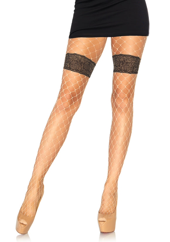 Diamond Net Tights With Faux Thigh Garter and Floral Waistband - One Size - Nude - VIP NovelTease