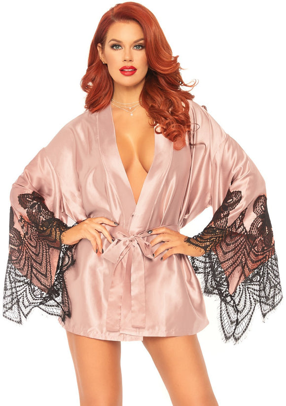 Satin Robe Set - Rose - Medium/large LA-86105ROSEML