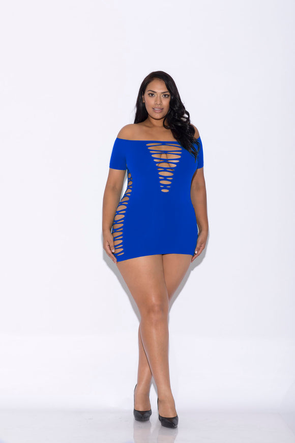 Off Shoulder Mini Dress - Queen Size - Blue GLTR-32115X