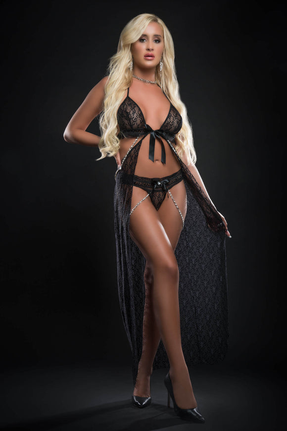 2pc Cut Out Open Front Flyaway Night Gown Adorned Pearl Chains and Panty - One Size - Black GWD-BL2084BLK