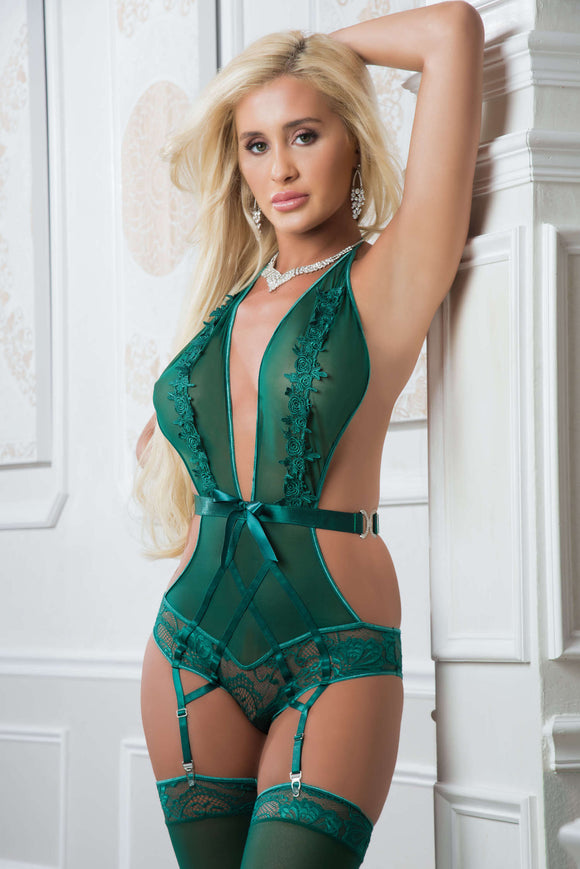2pc Embroidered Plunging Halter Teddy - One Size  Ultramarine Green GWD-B2052GRN