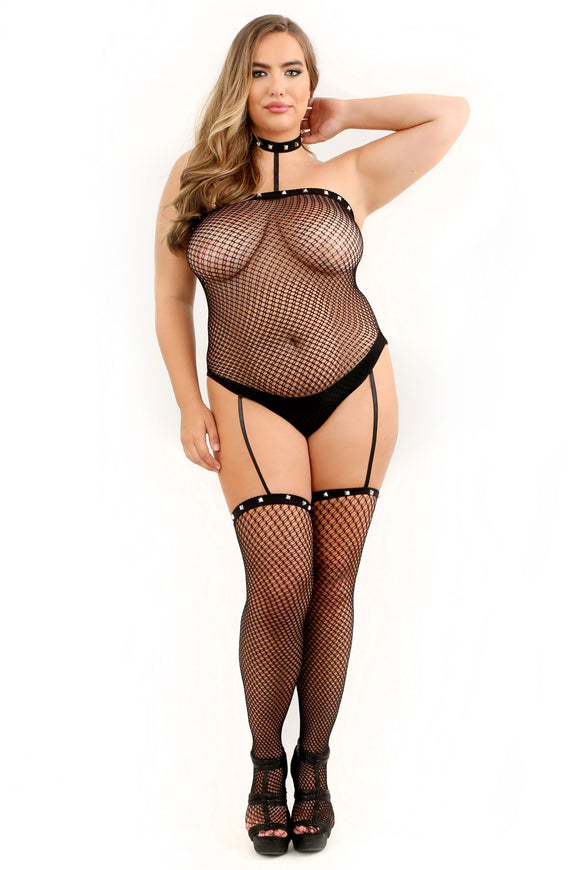 Hands to Myself Studded Collar Bodystocking - Queen Size FL-SF941-QS-B