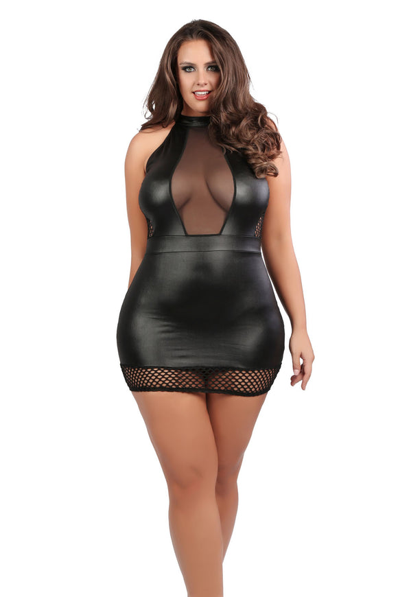 Nikki Hourglass Dress - Queen Size - Black ALR-17-2502XK